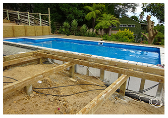 POOL ON SLOPE SHOWING STYROBECK INSULATION